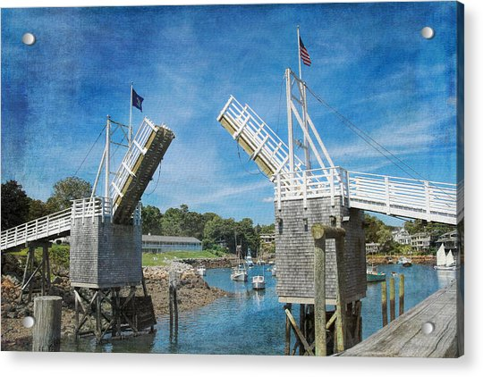 Acrylic Print featuring the photograph Perkins Cove Drawbridge Textured by Jemmy Archer