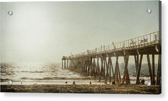 Pier Approaching Sunset Acrylic Print
