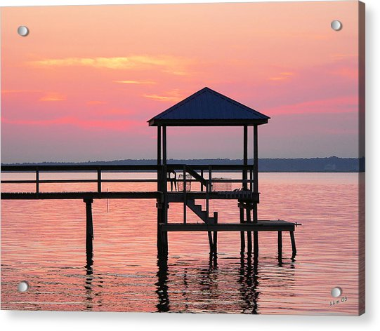 Pier In Pink Sunset Acrylic Print