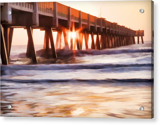 Acrylic Print featuring the photograph Pier Sunrise Too by Alice Gipson
