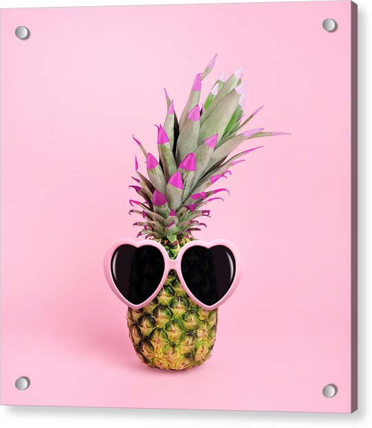 Pineapple Wearing Sunglasses Acrylic Print