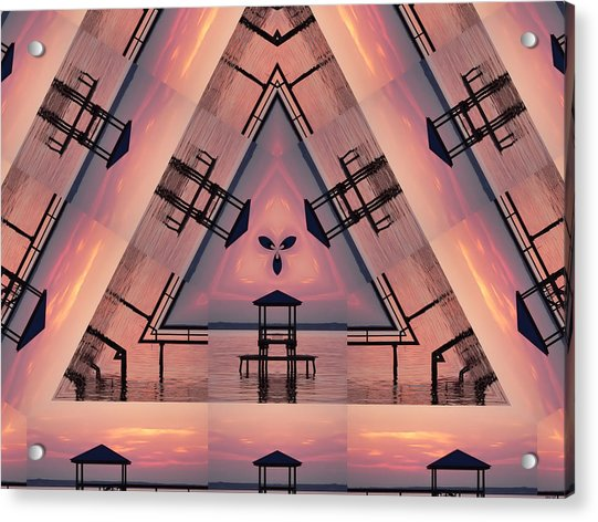 Pink Pier Kaleidoscope Two  Acrylic Print