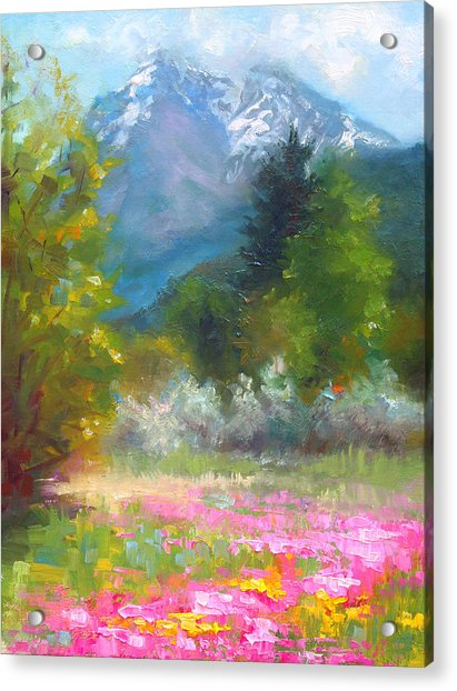 Acrylic Print featuring the painting Pioneer Peaking - Flowers And Mountain In Alaska by Talya Johnson