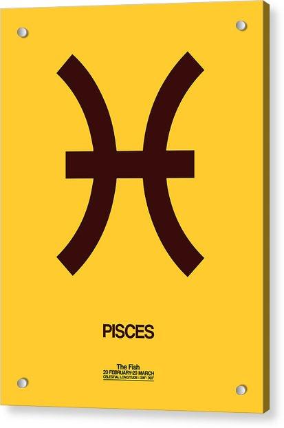 Pisces Zodiac Sign Brown Acrylic Print