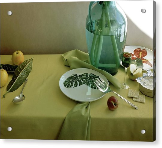 Plates, Apples And A Vase On A Green Tablecloth Acrylic Print