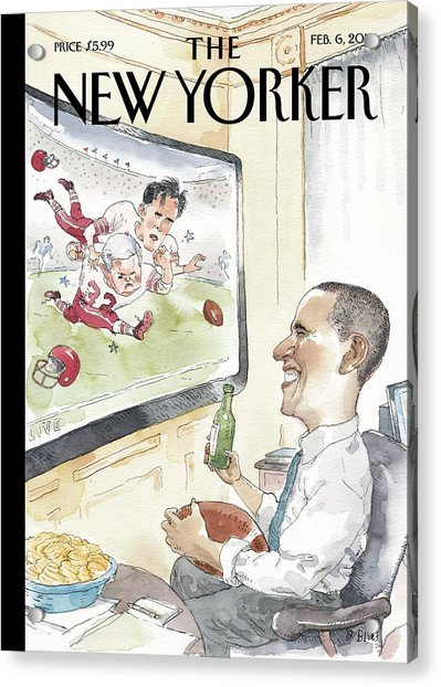 President Obama Watches Football On Tv Acrylic Print