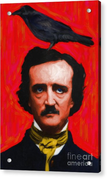 Quoth The Raven Nevermore - Edgar Allan Poe - Painterly - Red - Standard Size Acrylic Print