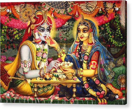 Radha Krishna Bhojan Lila On Yamuna Acrylic Print by Vrindavan Das