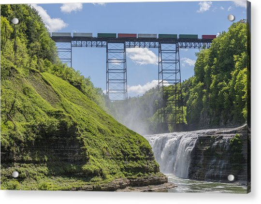 Railroad Trestle And Upper Falls At Letchworth State Park Acrylic Print