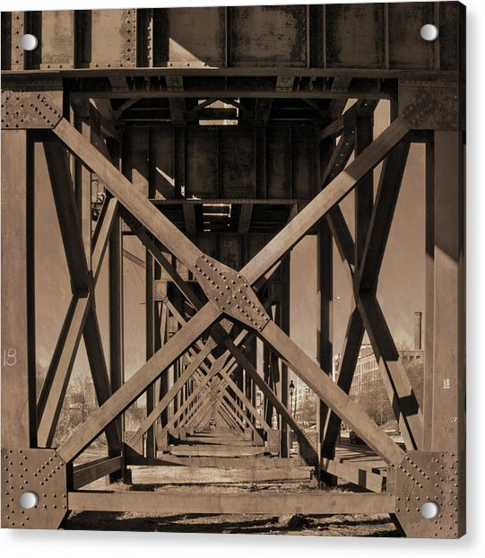Acrylic Print featuring the photograph Railroad Trestle Sepia by Jemmy Archer