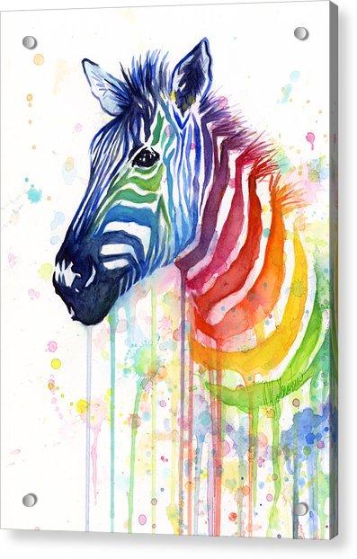 Rainbow Zebra - Ode To Fruit Stripes Acrylic Print