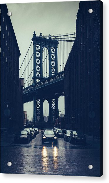 Rainy New York City Acrylic Print by Ferrantraite