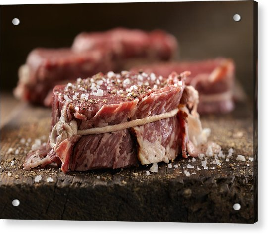 Raw Bacon Wrapped Steak Fillets Seasoned With Salt And Pepper Acrylic Print by Lauri Patterson