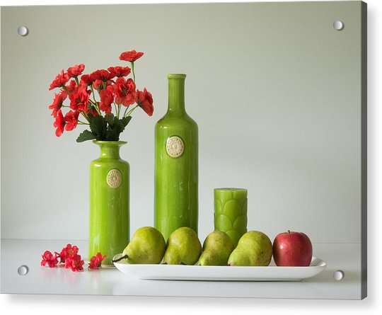 Red And Green With Apple And Pears Acrylic Print by Jacqueline Hammer