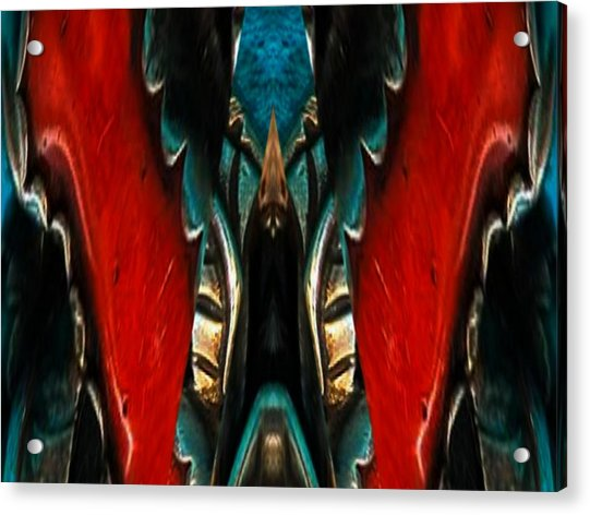 Red And Silver Abstract Acrylic Print