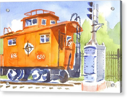 Red Caboose With Signal  Acrylic Print