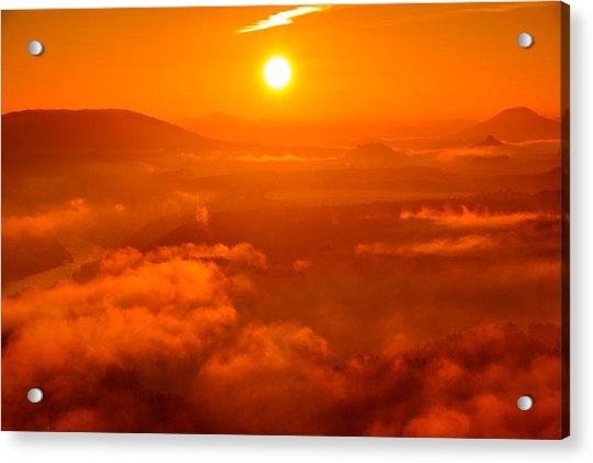 Red Dawn On The Lilienstein Acrylic Print