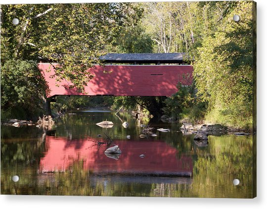 Acrylic Print featuring the photograph Red Fairhill Covered Bridge Two by Alice Gipson