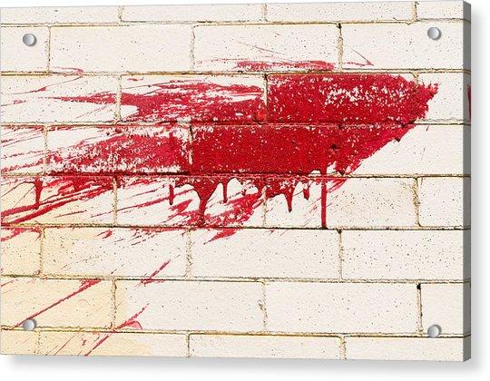 Red Splash On Brick Wall Acrylic Print