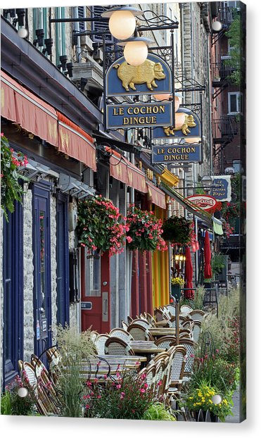 Restaurant Le Cochon Dingue In The Old Port Of Quebec City Acrylic Print