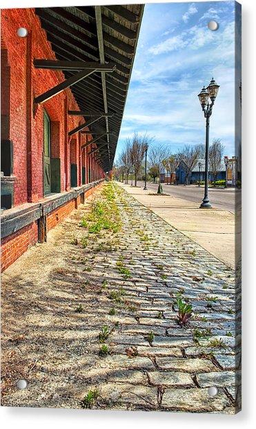 Reynolds Street View - Southern Railway Depot In Augusta Acrylic Print