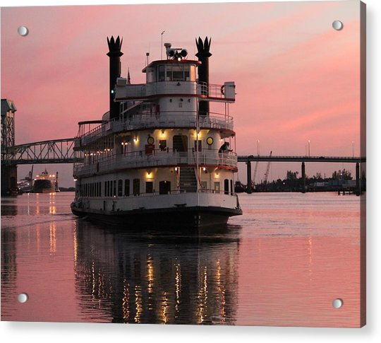 Acrylic Print featuring the photograph Riverboat At Sunset by Cynthia Guinn