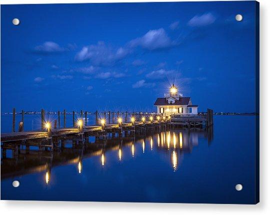 Roanoke Marshes Lighthouse Manteo Nc - Blue Hour Reflections Acrylic Print