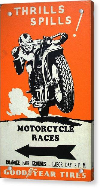 Roanoke Vintage Motorcycle Racing Poster Acrylic Print