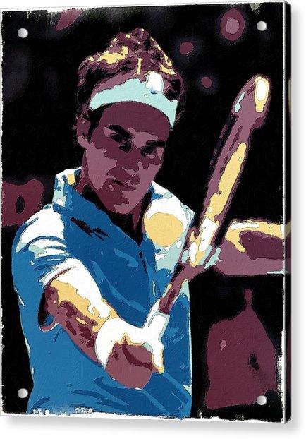 Roger Federer Portrait Art Acrylic Print