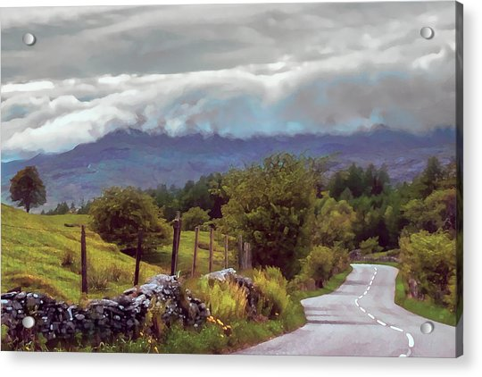 Rolling Storm Clouds Down Cumbrian Hills Acrylic Print