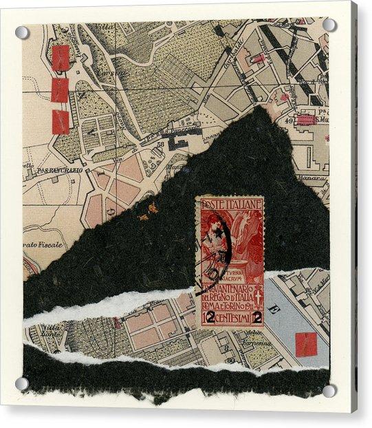 Roman Map Collage Acrylic Print