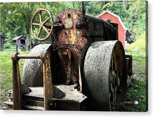 Rusted Buffalo Springfield Roller - Red Barn Acrylic Print