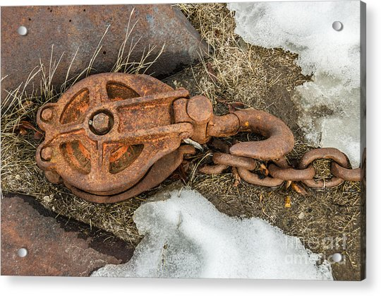 Rusty Pulley And Chain Acrylic Print