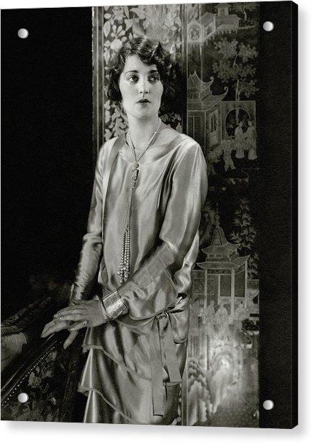Ruth Elder Wearing A Satin Dress Acrylic Print by Edward Steichen