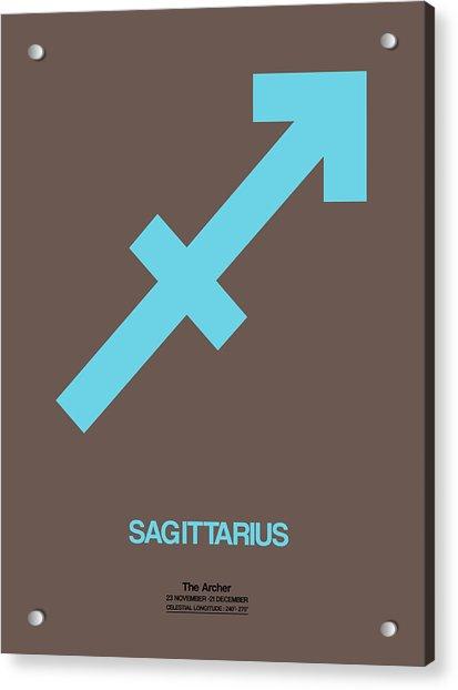Sagittarius Zodiac Sign Blue Acrylic Print