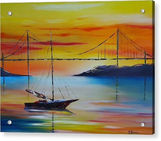 Sailing At Sunset Acrylic Print