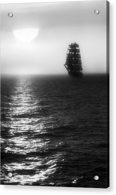 Acrylic Print featuring the photograph Sailing Out Of The Fog - Black And White by Jason Politte
