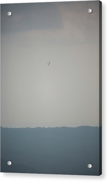 Sailplane In Front Of Dull Hazy Sky Acrylic Print