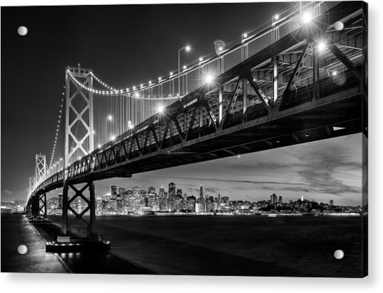 San Francisco - Under The Bay Bridge - Black And White Acrylic Print