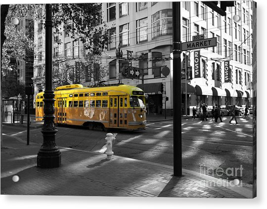 San Francisco Vintage Streetcar On Market Street - 5d19798 - Black And White And Yellow Acrylic Print