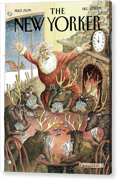 Santa Claus Rushed To Get His Reindeer Ready Acrylic Print