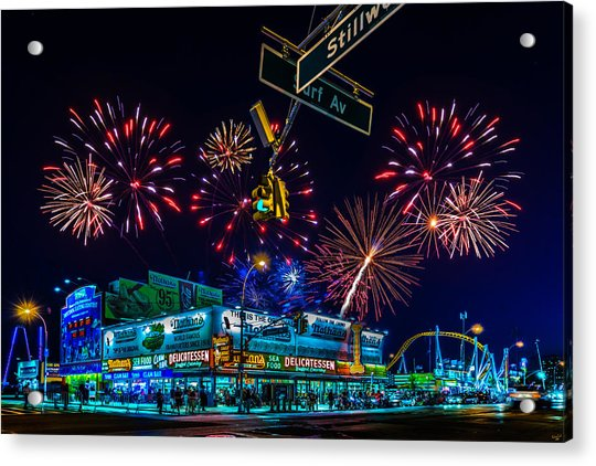 Acrylic Print featuring the photograph Saturday Night At Coney Island by Chris Lord