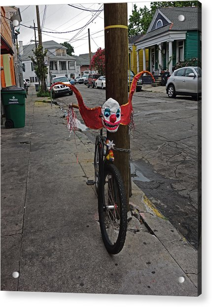 Scary Clown Bike In New Orleans Acrylic Print