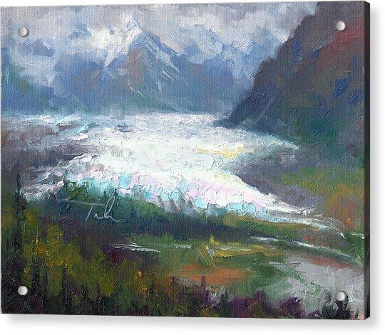 Acrylic Print featuring the painting Shifting Light - Matanuska Glacier by Talya Johnson