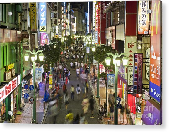 Shinjuku Street Scene At Night Acrylic Print