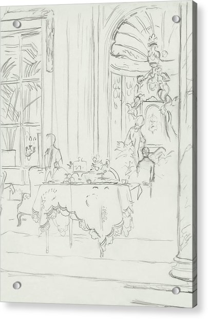 Sketch Of A Formal Dining Room Acrylic Print