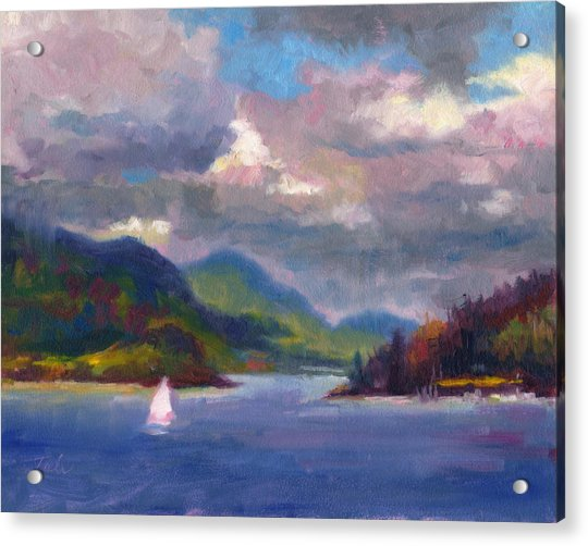 Acrylic Print featuring the painting Smooth Sailing Sailboat On Alaska Inside Passage by Talya Johnson