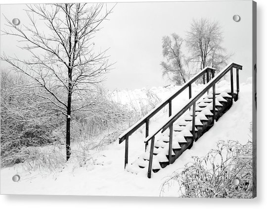 Snow Cover Stairs Acrylic Print