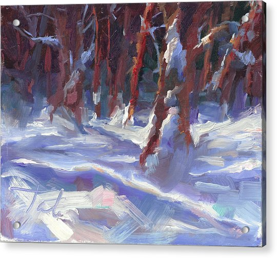 Acrylic Print featuring the painting Snow Laden - Winter Snow Covered Trees by Talya Johnson