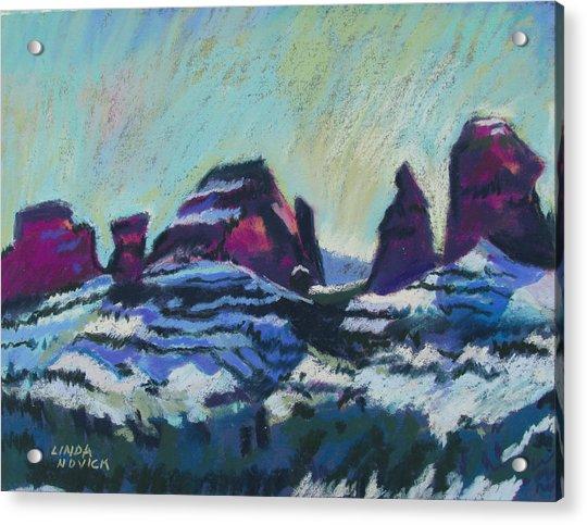 Snow On Peaks Acrylic Print